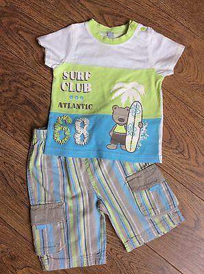 Baby Boys 12  Months Outfit Shorts And T-shirt Surf Bear Motif