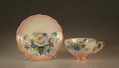 Takiro Handpainted Pink  White Roses and Forget-Me-Knots Cup and Saucer, Japan