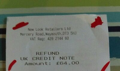 new look credit note worth £64.00