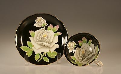 Handpainted Black with White Roses Cup and Saucer, Made In Occupied Japan
