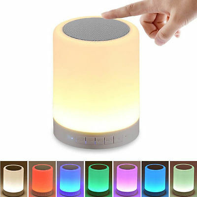 Wireless Bluetooth Speaker Stereo Bass Touch Control LED Light Lamp Music Player