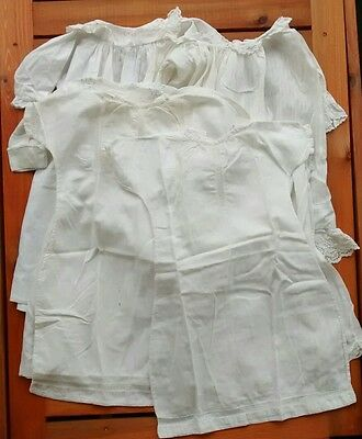 Antique Vintage White Christening Gown Dress Lot Baby Doll Lace Pintuck Smocked