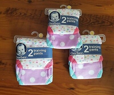 Gerber Toddler Girl's 3 (Three) 2-Pack Purple/Pink Potty Training Pants ~Size 3T