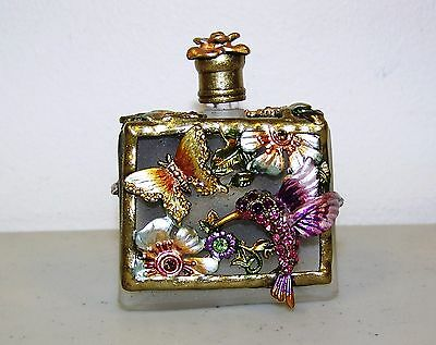 Vtg. Glass Perfume Bottle - Ornate Hummingbird, Butterfly Rose Metal Decoration