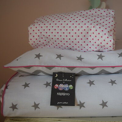 100%COTTON Cot Bed Duvet Cover Set Fitted Sheet Stars Chevron Grey White pink