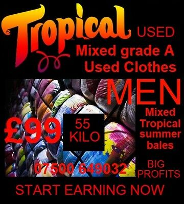 Wholesale 55kg bails of Men's summer clothes all grade A, shirts, shorts, & more