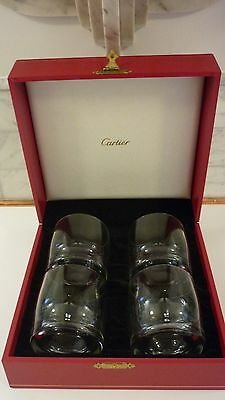 Cartier Crystal Double Old Fashion Tumblers  Set/4  *unused In Presentation Box*