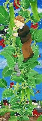 Double Length ACEO original art painting Jack & the Beanstalk cat squirrel story