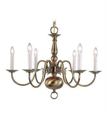 Chandeliers 6 Light With Antique Brass Steel Drum size 24 in - World of Crystal