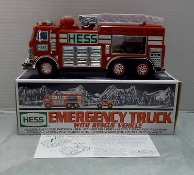 2005 HESS Die Cast TOY EMERGENCY TRUCK with RESCUE VEHICLE in Original Box