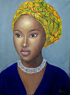 Art Original oil painting - Portrait of an African Woman- by Gary Haigh