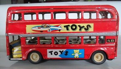 Vintage Double Decker Tin Litho Friction Bus - Made in China