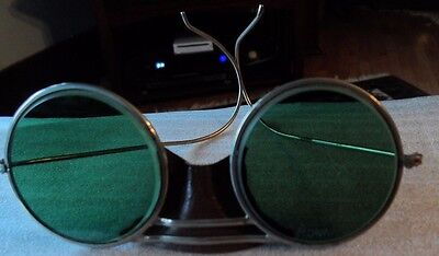 Vintage Willson 1940's Metal Safety Folding Goggles/Glasses with Green Lens