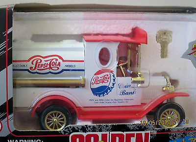 1996 Pepsi Cola Die Cast Collectible Gift Bank – Golden Wheel Classic Nib