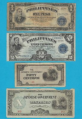 4pc Lot 1942-44 Invasion WWII * Philippines Victory Pesos + Japanese Fiat Money