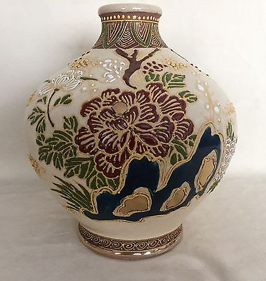 Antique Japanese Satsuma Pottery Vase Hand Painted Cobalt Heavy Moriage Signed