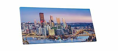 Pittsburgh at Dusk Skyline Panoramic Gallery Wrapped Canvas Print