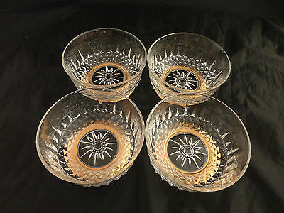 Four Vintage Arcoroc France Pc. Diamant Copper Base Salad Bowls