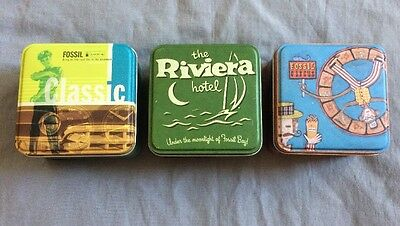 Lot of 3 Fossil Tin Authentic Containers Pre-Owned