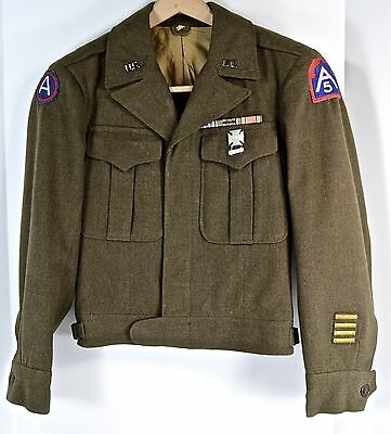 WWII US Ike Jacket w Some Patches & Devices/Fifth Army/ Name of Soldier/size 34S