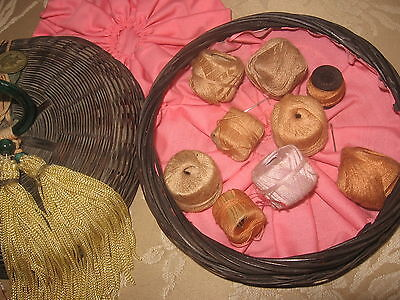 Old 'LINGERIE / HOSIERY' Sewing Basket, Woven with DECORATIVE ORIG. ACCENTS