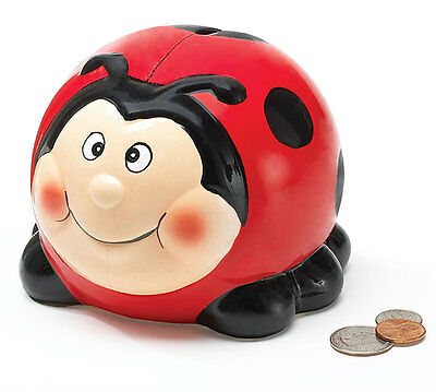 "Ladybug Shaped Hand Painted Ceramic Coin Bank 5"" Wide By Burton & Burton"