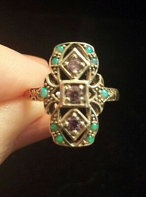 Antique Reproduction Sterling Silver LC Amethyst And Seed Opal Ring, Sizeable 7