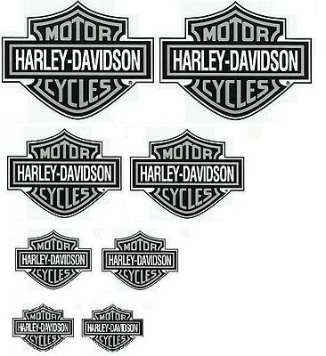 8 Rare Silver Harley-Davidson Stickers