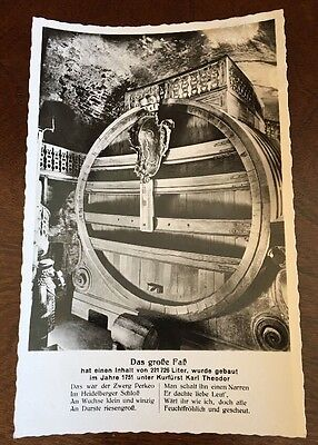 World's Largest Wine Barrel Heidelberg Germany 1950s Photo Postcard