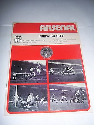 ARSENAL v NORWICH CITY 1973/74 - FAC3R - FOOTBALL PROGRAMME