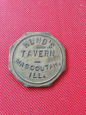 Us trade token HUND'S TAVERN MASCOUTAH ILLINOIS 10 CENTS IN TRADE