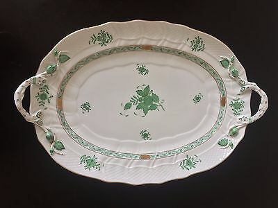 "Herend China ""chinese Bouquet - Green"" 15"" Oval Handled Platter"