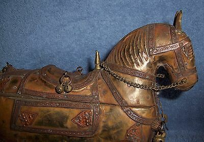 Antique India HORSE Palace Temple Toy on Wheels #1~Brass Metal &Wood~Trinket Box