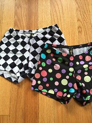 Dandelion gymnastics dance cheer shorts lot of 2 size child S