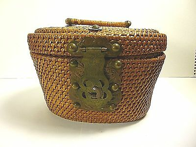"ANTIQUE ASIAN BASKET WITH DRAGON DESIGN BRASS & FISH LATCH 9""W x 5""T CIRCA 1900s"