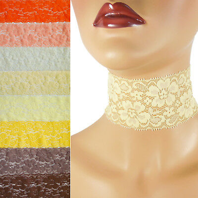 Stretch Lace Choker 1-1.25 inch wide custom necklace 25-30 mm elastic Pink+