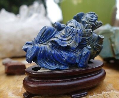 Antique Chinese Buddha Lapis Intricately Carved with Rosewood Stand TOP EXAMPLE!