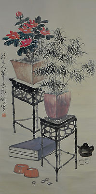 Vintage Chinese Scholar Quarter Wall Hanging Scroll Painting