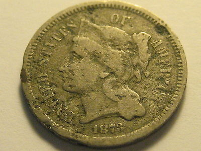1873 Closed 3 Three Cent Nickel Piece Rough