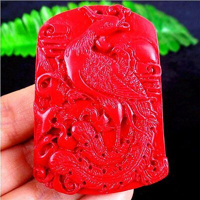 Beautiful Unique Red Cinnabar Carved Phenix Pendant Bead 59*41*8mm BE49557