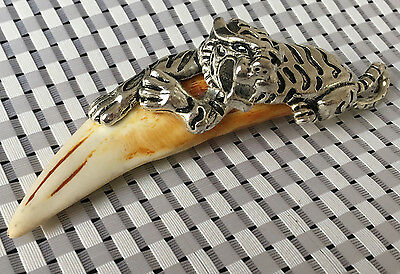 Chinese Antique Boars Tooth Wild Hog Silver  tiger protective talisman Pendant @