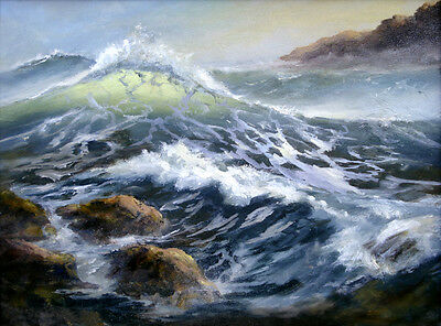 Ocean waves Oil painting Wall art Picture printed on canvas 16x20 Inch L171