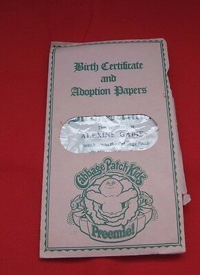 Cabbage Patch Kids PREEMIE Alexine Gabie Birth Certificate Adoption Nov 1 1983