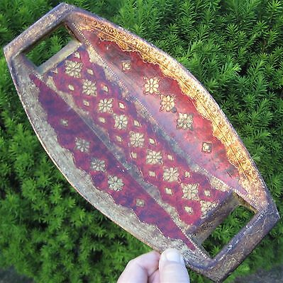 Vintage Florentine Italy Toleware Shabby Gold Gilt Burgundy Red Bread Fruit Tray