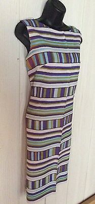 Vtg 60s Crepe Striped Sleeveless Shift Pencil Dress Size M 8 10