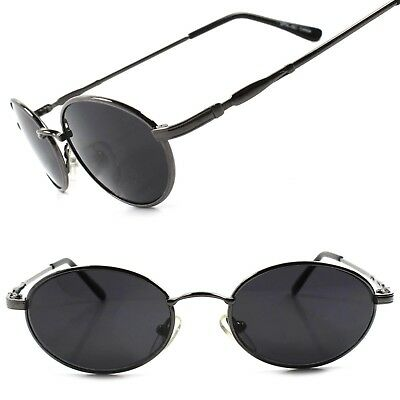 c0f5a65b926f Old Fashion 80s Mens Womens Gunmetal Indie Vintage Style Round Oval  Sunglasses