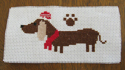X Stitch PIECE DACHSHUND dog SAUSAGE red WHITE EMBROIDERY diy CRAFT hobby SEW