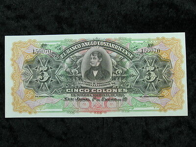 1 old world foreign banknote lot COSTA RICA 5 colones Anglo Costarricense