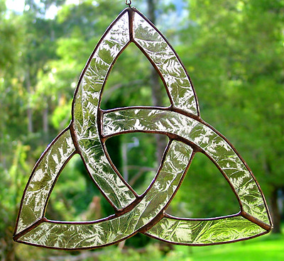 Trinity Celtic Knot in Stained Glass, Pale Amber Glass, Suncatcher, handmade