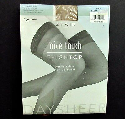 Nice Touch Thigh High Nylon Stockings Size D Nude 2 Pairs